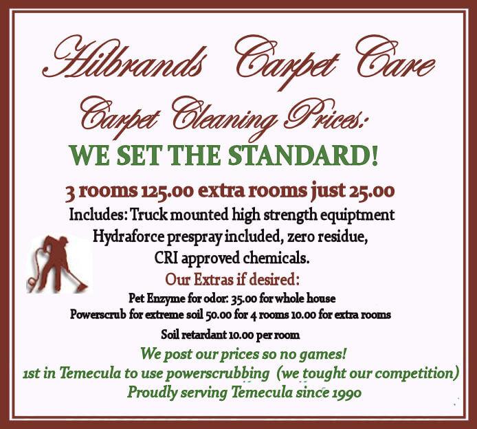 Hilbrands Carpet Care Service Prices Temecula Murrieta Ca
