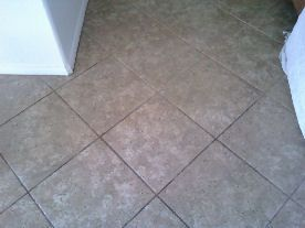 1/2 finished tile grout cleaning